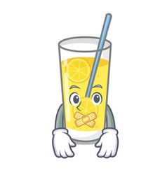 Silent lemonade mascot cartoon style vector