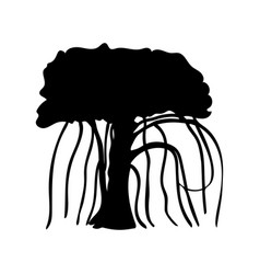 silhouette liana creeper icon tree flora vector image
