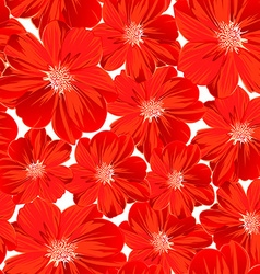 Small red flowers in a seamless pattern vector