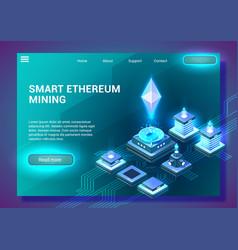 smart ethereum mining vector image