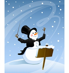 Snowman conductor vector image