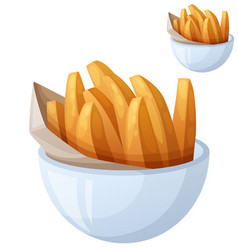 sweet potato fries detailed icon isolated vector image
