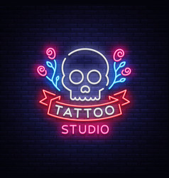tattoo salon logo neon sign a symbol of a vector image