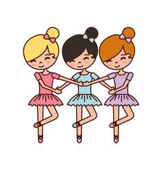 three girls dancing ballet classic practice vector image