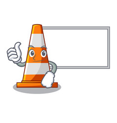 Thumbs up with board traffic cone on road cartoon vector