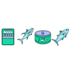 Tuna icon set line color vector