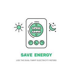 two-tariff electric meter save money vector image
