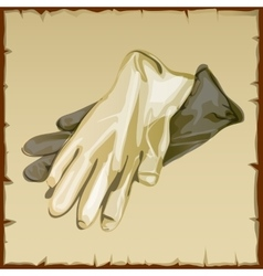 Two workwear gloves of white and gray colors vector