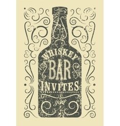 typography retro grunge design whiskey bar poster vector image