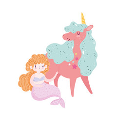 unicorn and mermaid princess cartoon isolated icon vector image