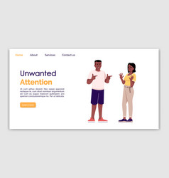 Unwanted attention landing page template annoying vector