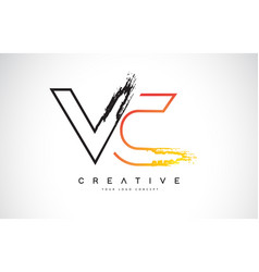 Vc creative modern logo design with orange and vector