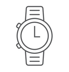 watch thin line icon clock and time starp sign vector image