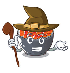 Witch salmon roe character ready to eat vector