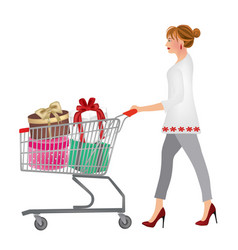 woman pushing a shopping cart full with gifts vector image