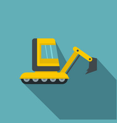 Yellow mini excavator icon flat style vector