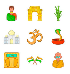 Yoga place icons set cartoon style vector