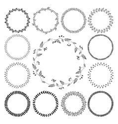 Big collection of circle cute hand drawn floral vector image vector image