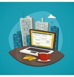 Business Workplace Design Concept Set vector image