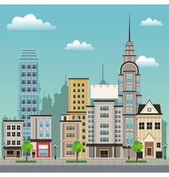 city street buildings tree design vector image