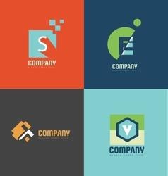 Flat letter logo icon set vector