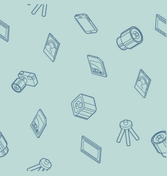photo outline isometric icons pattern vector image vector image