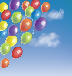 Baloons in a blue sky with clouds vector image