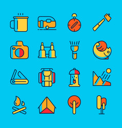 camping and adventure line icon set vector image vector image