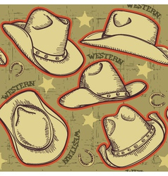 Cowboy hats seamless pattern for western vector