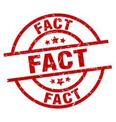 Fact round red grunge stamp vector