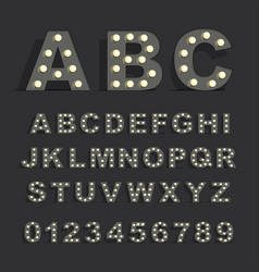 font with lamps on black background vector image vector image