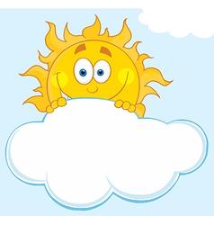 Happy Sun Hiding Behind Cloud vector image vector image