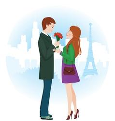 Lovers in Paris vector image