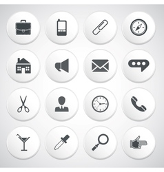 Set of white round buttons with pictograms vector image