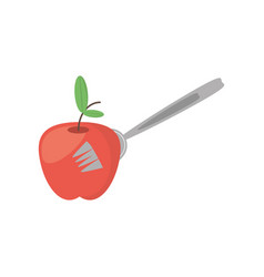 apple fruit fork food picnic vector image vector image