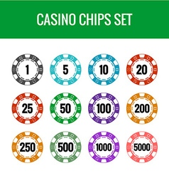 Casino chips set Color poker chips with numbers vector image vector image
