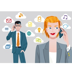 Caucasian Businesswoman And Businessman Talking On vector image vector image