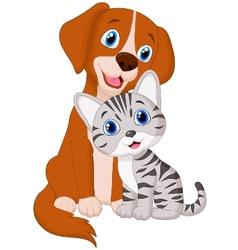 Cute cat and dog cartoon vector