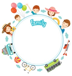 Family Vacation Objects on Round Frame vector image vector image