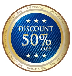 Fifty Percent Discount Blue Label vector image