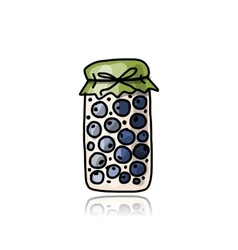Jar with blueberry jam sketch for your design vector image