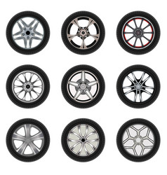 Set of car wheels with a different design vector