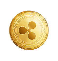 golden ripple blockchain coin symbol vector image