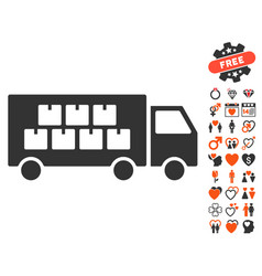 goods transportation truck icon with love bonus vector image vector image