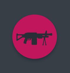 Machine gun icon automatic firearm weapon vector