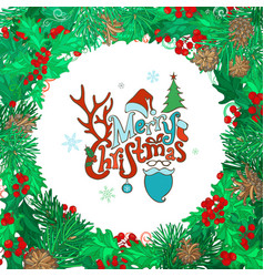 merry christmas round frame vector image