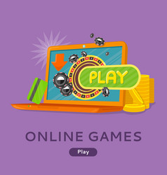 online games concept flat style web banner vector image vector image
