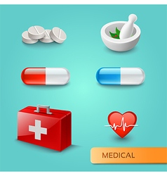 Set of medical icons and symbols vector image