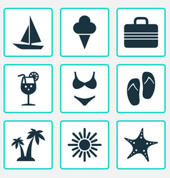 Sun icons set collection of forceps baggage vector