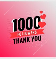 1000 followers thank you template design vector